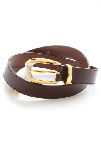 Downtown to Earth Belt - Brown, Gold, Solid, Leather, Minimal, 60s