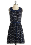Whistle While You Walk Dress - Short, Blue, White, Polka Dots, Peter Pan Collar, Belted, Casual, A-line, Sleeveless, Collared, Nautical