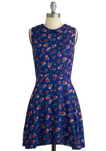 Garden Gazing Dress - Mid-length, Blue, Multi, Floral, Peter Pan Collar, Casual, A-line, Sleeveless, Collared, Exclusives