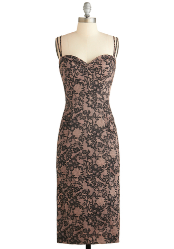 Date with Your Turntable Dress by Stop Staring! - Cotton, Long, Tan, Black, Floral, Cocktail, Bodycon / Bandage, Spaghetti Straps, Sweetheart, Pinup, Vintage Inspired, Prom, Exclusives