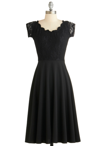 Up, Opera, and Away Dress by Stop Staring! - Long, Black, Solid, Lace, Cocktail, A-line, Cap Sleeves, Scoop, Vintage Inspired, 50s, Luxe, Exclusives, Scallops, LBD, Top Rated