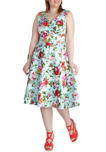 Floral to Fawn Over Dress in Plus Size by Stop Staring! - Cotton, Long, Variation, Multi, Floral, Daytime Party, A-line, Sleeveless, V Neck, Spring