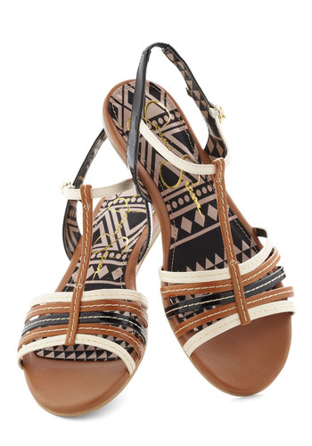 Canyon Feel the Love Sandal - Brown, Solid, Slingback, Flat, Leather, Black, White, Casual, Daytime Party, Summer