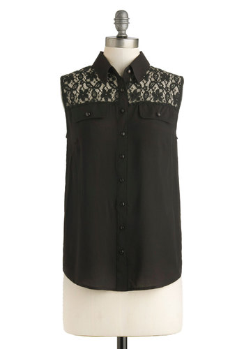 Bus Stop Friendship Top in Black - Black, Solid, Buttons, Lace, Work, Sleeveless, Collared, Mid-length, Casual, French / Victorian, Button Down, Variation, Summer, Black, Sleeveless, Lace