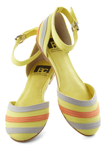 See You Soon Flat in Yellow by BC Shoes - Multi, Stripes, Flat, Spring, Variation