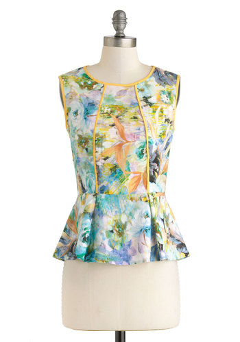 Make an Impressionist Top - Multi, Yellow, Green, White, Floral, Work, Sleeveless, Mid-length, Trim, Daytime Party, Crew
