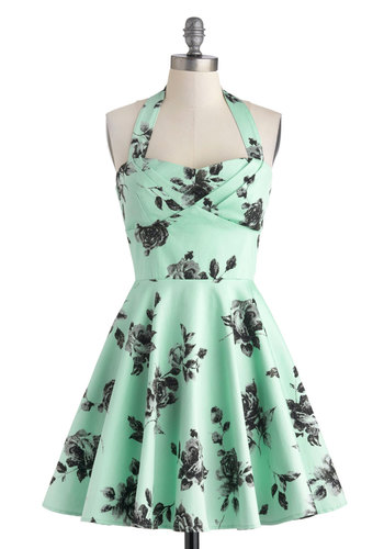 Traveling Cupcake Truck Dress in Mint Roses - Cotton, Mint, Black, Floral, Fit & Flare, Strapless, Sweetheart, Party, Vintage Inspired, Prom, Variation, Summer, Wedding, Bridesmaid, Spring, Pastel, Long