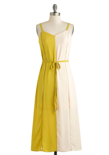 Chartreuse for Real? Dress - Long, Green, Tan / Cream, Belted, Maxi, Spaghetti Straps, Sweetheart, Solid, Daytime Party, Vintage Inspired, 70s, Colorblocking, Summer