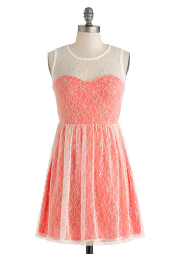 Coral Cocktails Dress - Short, White, Lace, Party, A-line, Scoop, Coral, Solid, Daytime Party, Sleeveless