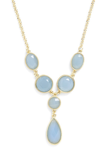 Sea Glass Half Full Necklace - Blue, Gold, Solid, Party, Bridesmaid