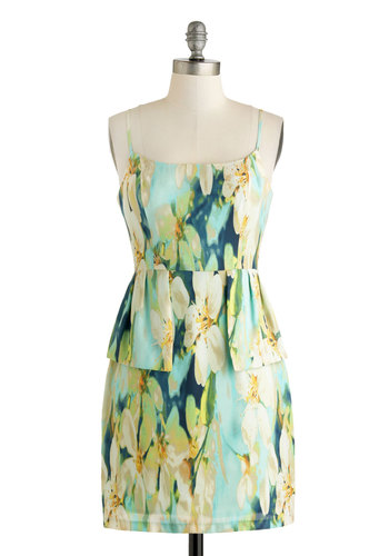 Lucid Reverie Dress by BB Dakota - Short, Green, Blue, Tan / Cream, Floral, Party, Sheath / Shift, Spaghetti Straps, Scoop, Wedding, Daytime Party, Peplum, Bridesmaid, Graduation, Summer