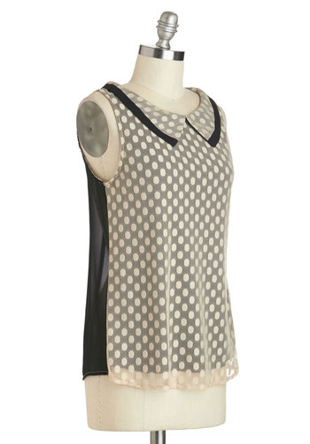 To the Nines Top - Mid-length, Tan, Black, Polka Dots, Peter Pan Collar, Work, Sleeveless, Collared, Vintage Inspired, 60s, Sheer, Brown, Sleeveless, Top Rated