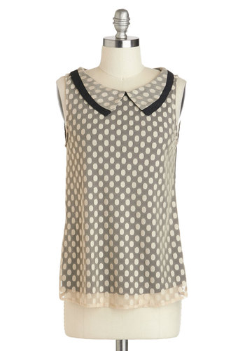 To the Nines Top - Tan, Black, Polka Dots, Peter Pan Collar, Work, Sleeveless, Collared, Vintage Inspired, 60s, Sheer, Brown, Sleeveless, Mid-length