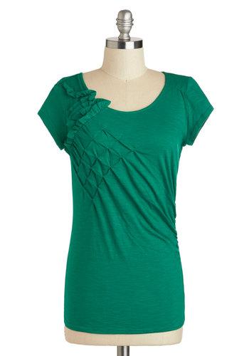 Gleeful Gathering Top - Cotton, Mid-length, Green, Solid, Ruffles, Casual, Short Sleeves, Minimal
