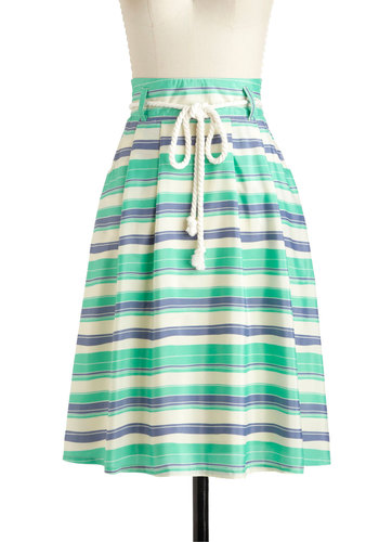 Cruising Through Skirt - Long, Green, Blue, White, Stripes, Belted, Daytime Party, Nautical, A-line, Pockets, Casual, Summer