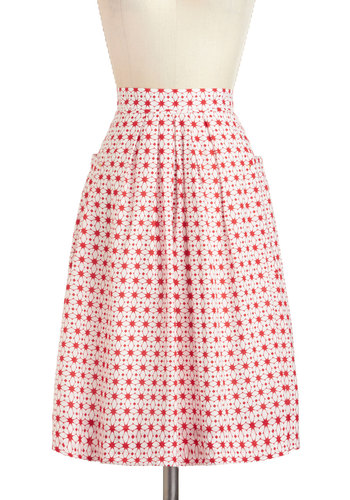 Haute on the Tiles Skirt - Cotton, Mid-length, Red, White, Print, Pockets, Daytime Party, A-line, Vintage Inspired, 50s, Pinup