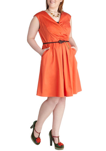 Occasion by Me Dress in Scarlet - Plus Size - Cotton, Variation, Orange, Solid, Belted, Ruching, Party, A-line, Sleeveless, V Neck, Pockets, Daytime Party, Work