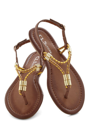 The Best of Friends Sandal - Tan, Solid, Braided, Flat, Faux Leather, Yellow, Beads, Casual, Beach/Resort, Summer