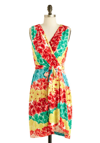 Flowers of the Rainbow Dress - Short, Red, Yellow, Green, Floral, Belted, Party, Wrap, Sleeveless, V Neck, Beach/Resort, Summer