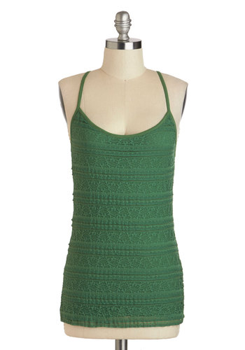 Party Up in Tier Top - Mid-length, Green, Solid, Lace, Casual, Spaghetti Straps, Racerback, Scoop, Summer, Travel