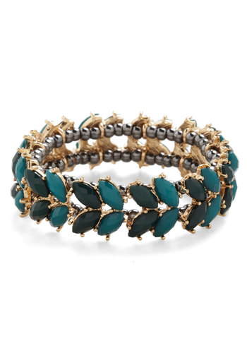 Reign Forest  Bracelet - Solid, Beads, Luxe, Green, Gold, Cocktail