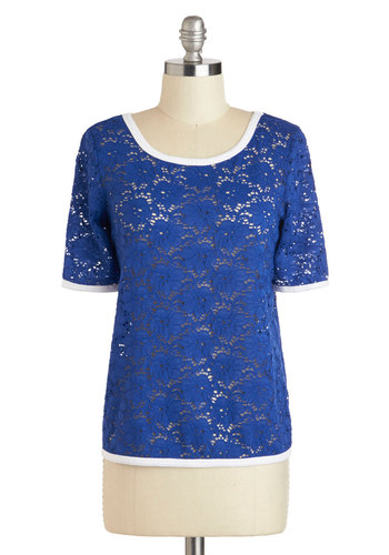 Ready, Croquet Top - Mid-length, Blue, White, Lace, Work, Short Sleeves, Solid, Sheer, Scoop