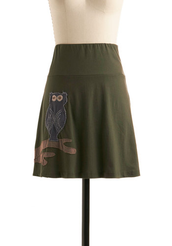 Hoo, Me? Skirt - Green, Print with Animals, A-line, Casual, Owls, Fall, Short, Eco-Friendly, Cotton, Travel, Halloween, Green