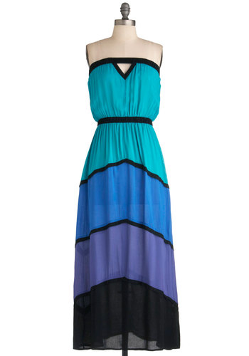 Feel It in My Tones Dress - Long, Green, Blue, Purple, Black, Cutout, Casual, Maxi, Strapless, Summer, Beach/Resort