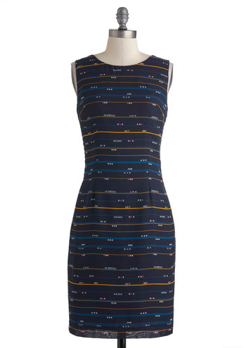 A Sure Alphabet Dress - Blue, Yellow, White, Stripes, Pleats, Work, Sheath / Shift, Sleeveless, Novelty Print, Vintage Inspired, Quirky, Nautical, Mid-length, Exclusives