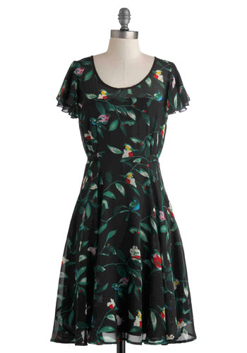 Tweet as Can Be Dress - Black, Red, Green, Blue, Print with Animals, A-line, Spring, Long, Scoop, Daytime Party, Vintage Inspired, Short Sleeves, Sheer, Work