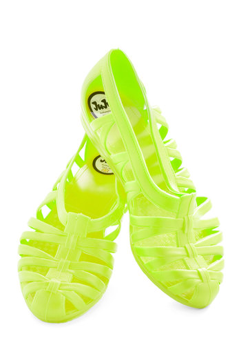 Sublime Stepping Flat in Electric Lime by Juju - Green, Solid, Cutout, Vintage Inspired, 90s, Flat, International Designer, Summer, Variation