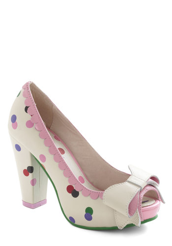 Garden Surprise Party Heel - Multi, Polka Dots, Bows, Scallops, Kawaii, High, Peep Toe, Leather, Cream, Prom, Party, Girls Night Out, Daytime Party, International Designer