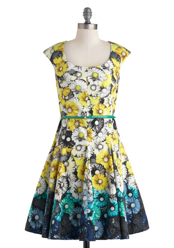 Let's Call it a Daisy Dress - Floral, Belted, Vintage Inspired, Spring, Cotton, Mid-length, Yellow, Green, Blue, Black, White, Fit & Flare, Cap Sleeves, Scoop, Daytime Party, Graduation