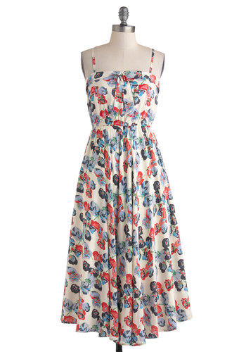 Just Past the Pasture Dress - White, Multi, Floral, Maxi, Spaghetti Straps, Casual, Spring, Bows, Beach/Resort, Boho, Folk Art, Short