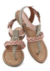 Tomorrow Never Rose Sandal by Matiko - Pink, Braided, Buckles, Flat, Leather, Casual, Summer