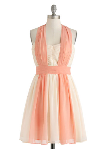 Sonnets at Sunrise Dress - Cream, Cutout, Pleats, Daytime Party, A-line, Mid-length, Pink, Sleeveless, Sweetheart, Pastel