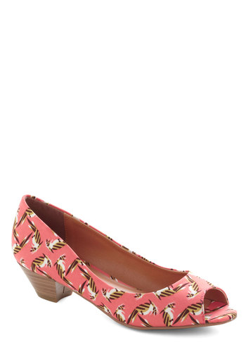 Made Like This Heel in Coral - Coral, Multi, Print with Animals, Peep Toe, Low, Work, Daytime Party, Beach/Resort, Variation