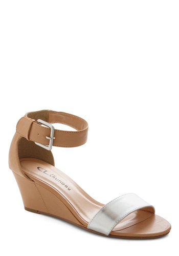 Chrome Alone Wedge - Tan, Solid, Buckles, Wedge, Silver, Party, Daytime Party, Minimal, Spring, Summer, Faux Leather