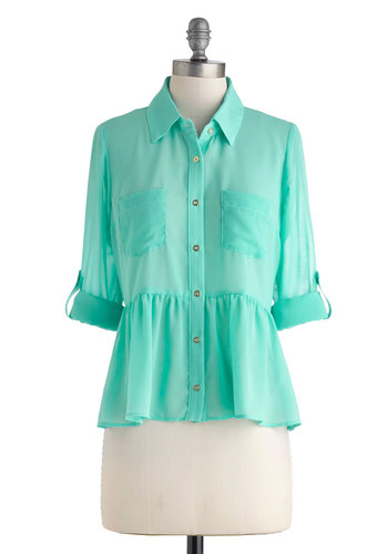 Mint Latte Top - Mint, Polka Dots, Buttons, Pockets, Work, Pastel, Peplum, Long Sleeve, Collared, Sheer, Mid-length