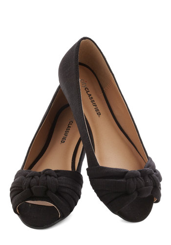 Simple Twist of Fate Flat in Black - Flat, Black, Solid, Peep Toe, Braided, Work, Casual, Daytime Party, Variation