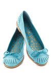 Kiltie Me Softly Flat - Flat, Faux Leather, Blue, Solid, Bows, Fringed, Menswear Inspired, Spring