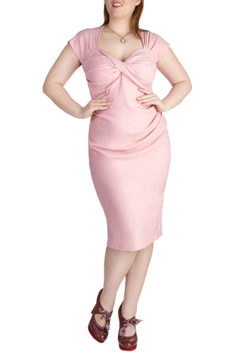 Tea Time After Time Dress in Plus Size by Stop Staring! - Pink, Solid, Bows, Cutout, Daytime Party, Shift, Cap Sleeves, Sweetheart, Pinup, Vintage Inspired, Long