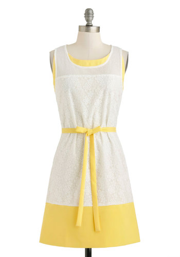 You Daisy Me Up Dress - Sheer, Mid-length, White, Yellow, Belted, Daytime Party, A-line, Tank top (2 thick straps), Scoop, Solid, Embroidery, Graduation, Vintage Inspired