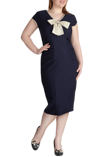 Sheath a Lady Dress in Navy - Plus Size by Stop Staring! - Long, Blue, Tan / Cream, Bows, Ruching, Party, Shift, Short Sleeves, V Neck, Solid, Nautical, Pinup, Vintage Inspired, 50s, Variation, Work, 60s