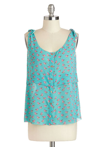 Flock to the Fun Top - Pink, Print with Animals, Buttons, Sleeveless, Sheer, Mid-length, Blue, Casual, Scoop, Summer