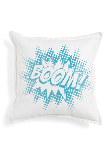 Graphic Novelty Pillow in Boom! - Cotton, Blue, White, Dorm Decor, Variation