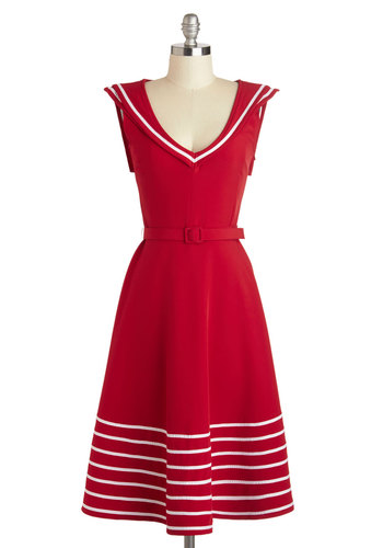 Either Oar Dress by Myrtlewood - Long, Red, White, Belted, Casual, Nautical, A-line, Sleeveless, V Neck, Solid, Daytime Party, Vintage Inspired, Exclusives, Private Label, Top Rated