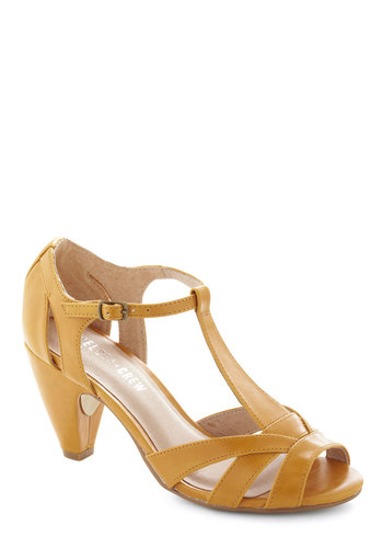 How Do You Feel? Heel in Mustard by Chelsea Crew - Mid, Leather, Yellow, Daytime Party, Solid, Party, Vintage Inspired, 30s, 40s, Faux Leather, Variation, Better, Peep Toe, T-Strap