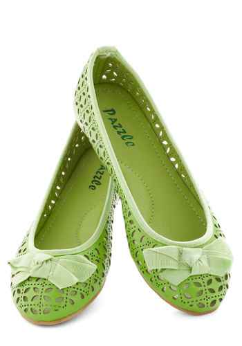 The First Cutout's the Chicest Flat - Green, Solid, Bows, Cutout, Flat, Casual, Daytime Party, Faux Leather