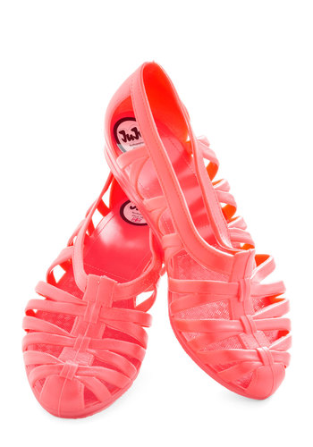Sublime Stepping Flat in Coral - Coral, Solid, Cutout, Vintage Inspired, International Designer, Low, Casual, Variation, Travel